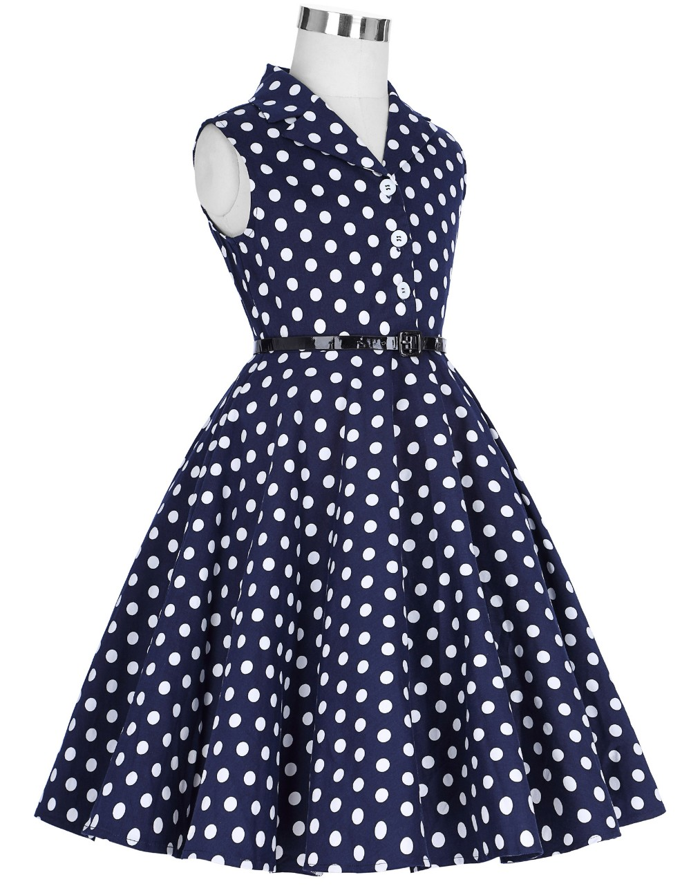 bf39fb3ac157 Grace Karin Kids 'Holly' Vintage 50's Dress Girls Retro Vintage Sleeveless  Lapel Collar Navy