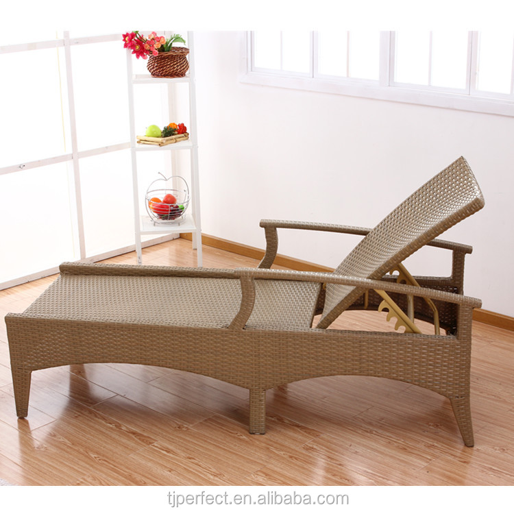 antique comfortable patio long deckchair yellow pe rattan indoor chaise lounge chairs for bedroom