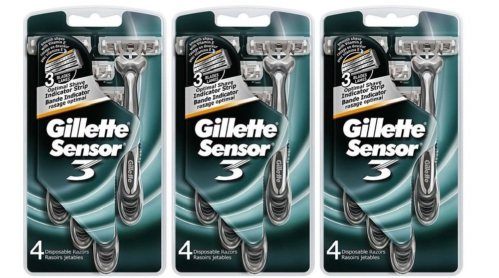 Gillette Sensor3 Smooth Shave Disposable Razors-4 ct, 3 pk