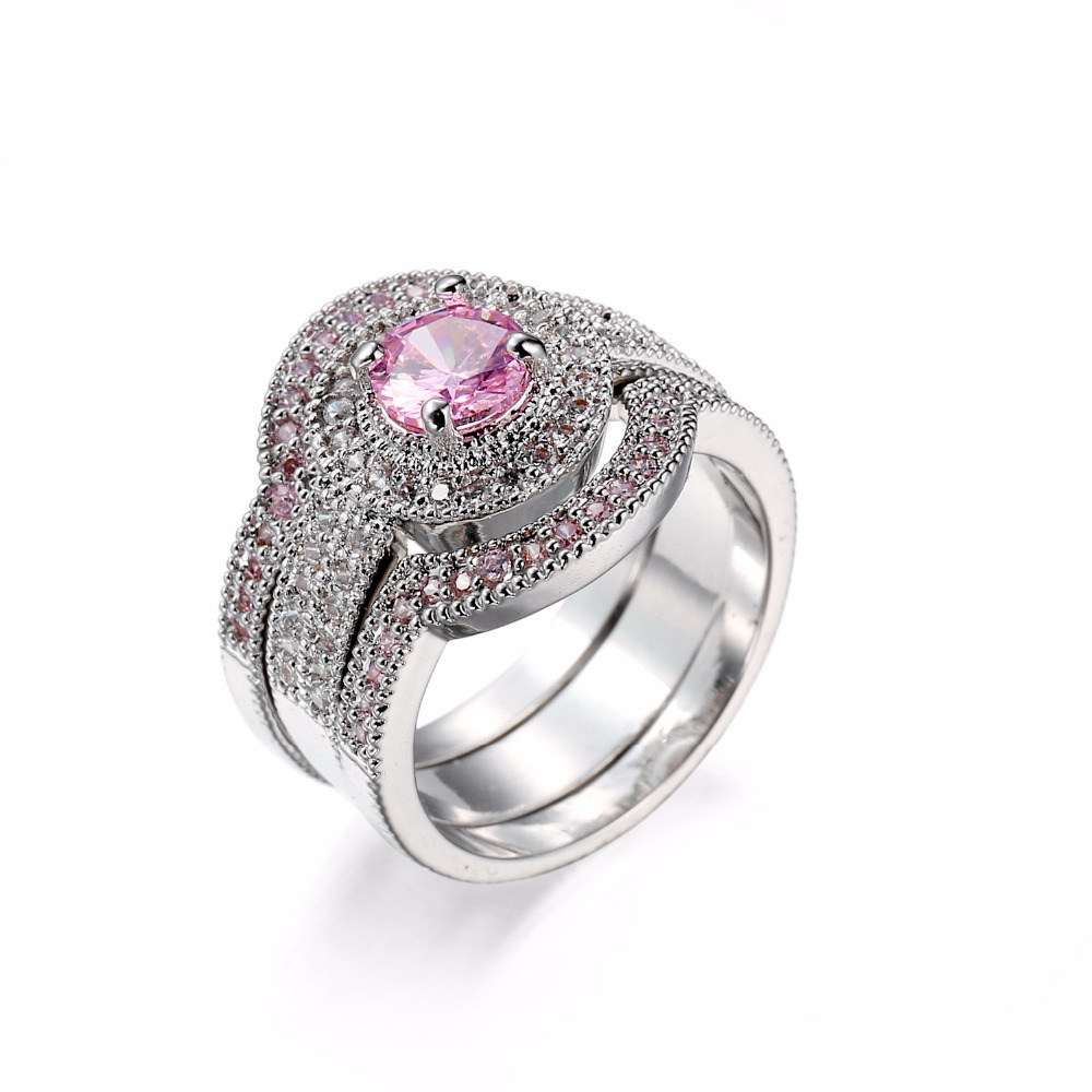 Elegant Women White Gold Plated Pink Sapphire Stone Cz AAA Cubic Zircon 3 Pcs Wedding Ring Set