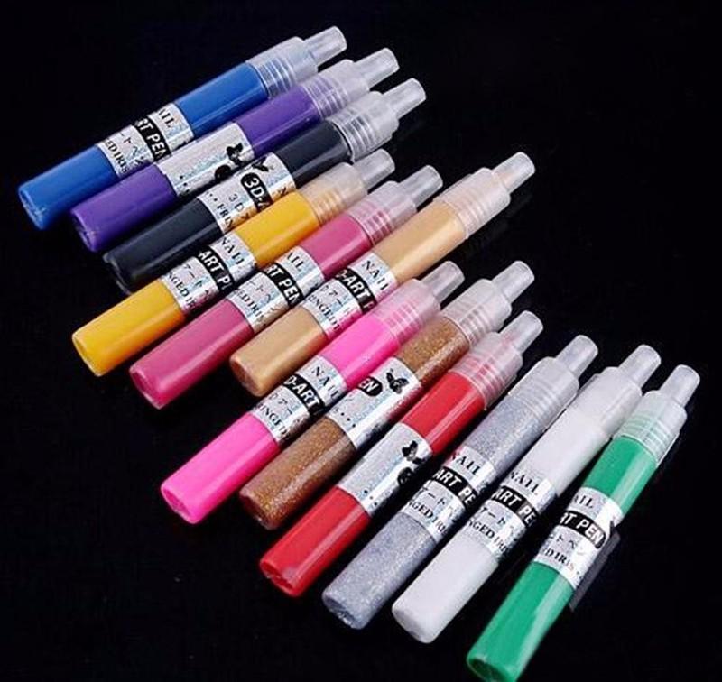 Fashion Nails Tools 12colors Nail Art Polish Pen For: 12 Colors UV Gel Acrylic Nail Art Polish Glitter 3D Paint