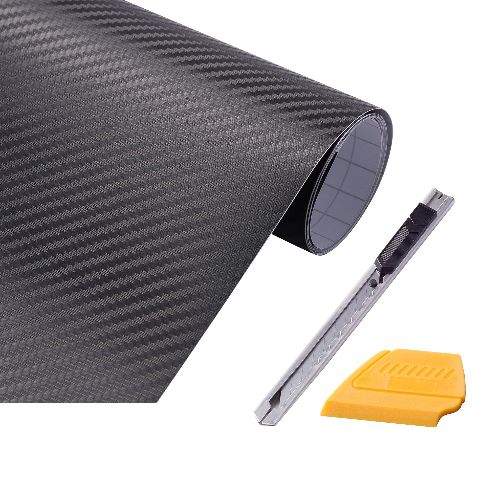 """FOSHO 3D Black Auto Carbon Fiber Film Sticker Vinyl Wraps Roll with Air Release Technology 12""""x 60"""" with 1 Knife 1 scraper Tints Tool"""