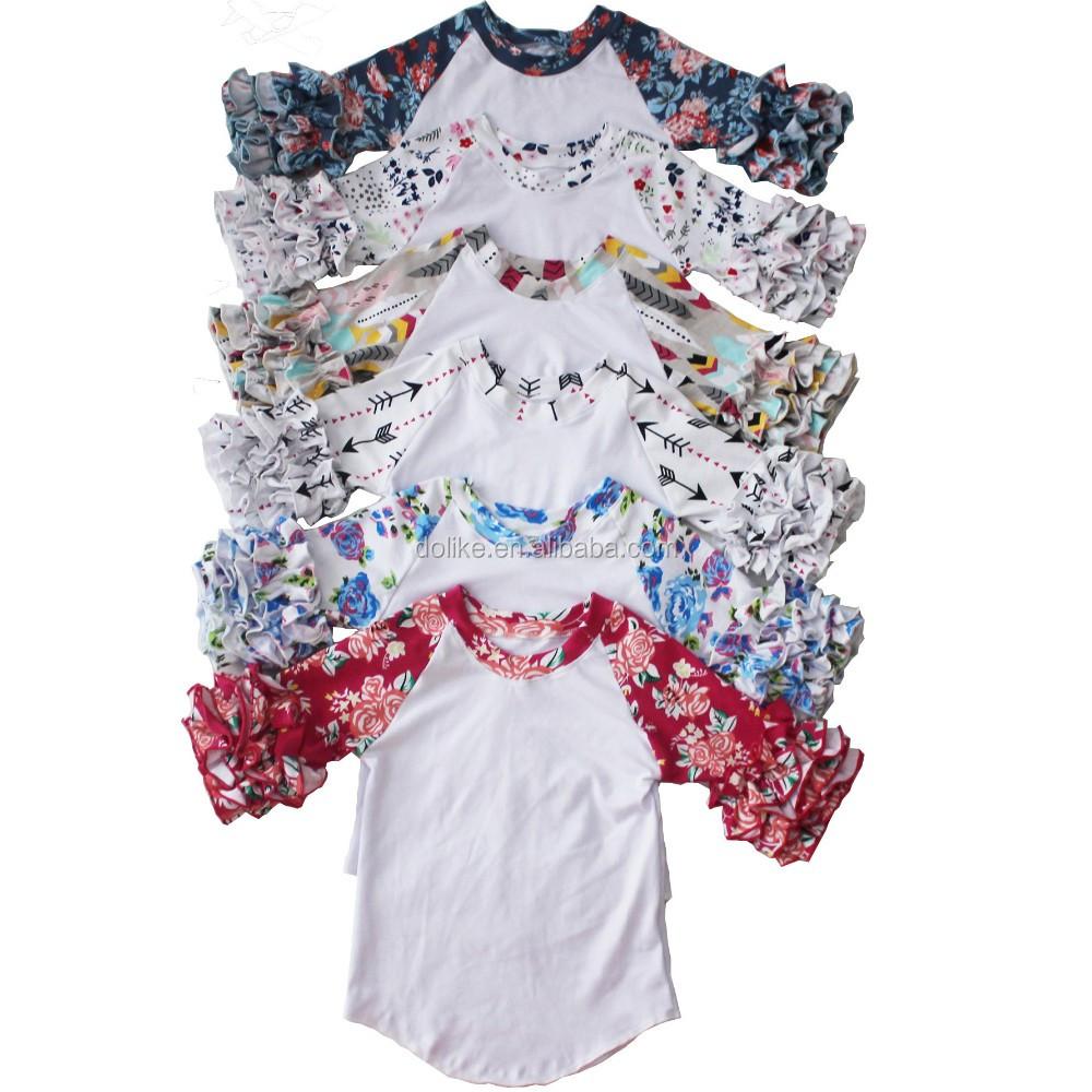 Wholesale printed ruffle sleeve kids raglan baby icing for Buy printed t shirts wholesale