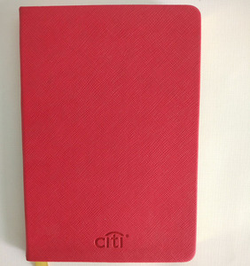 A6 Faux Leather Red Cover And Gold Edging Diary Notebook With Ribbon Bookmark