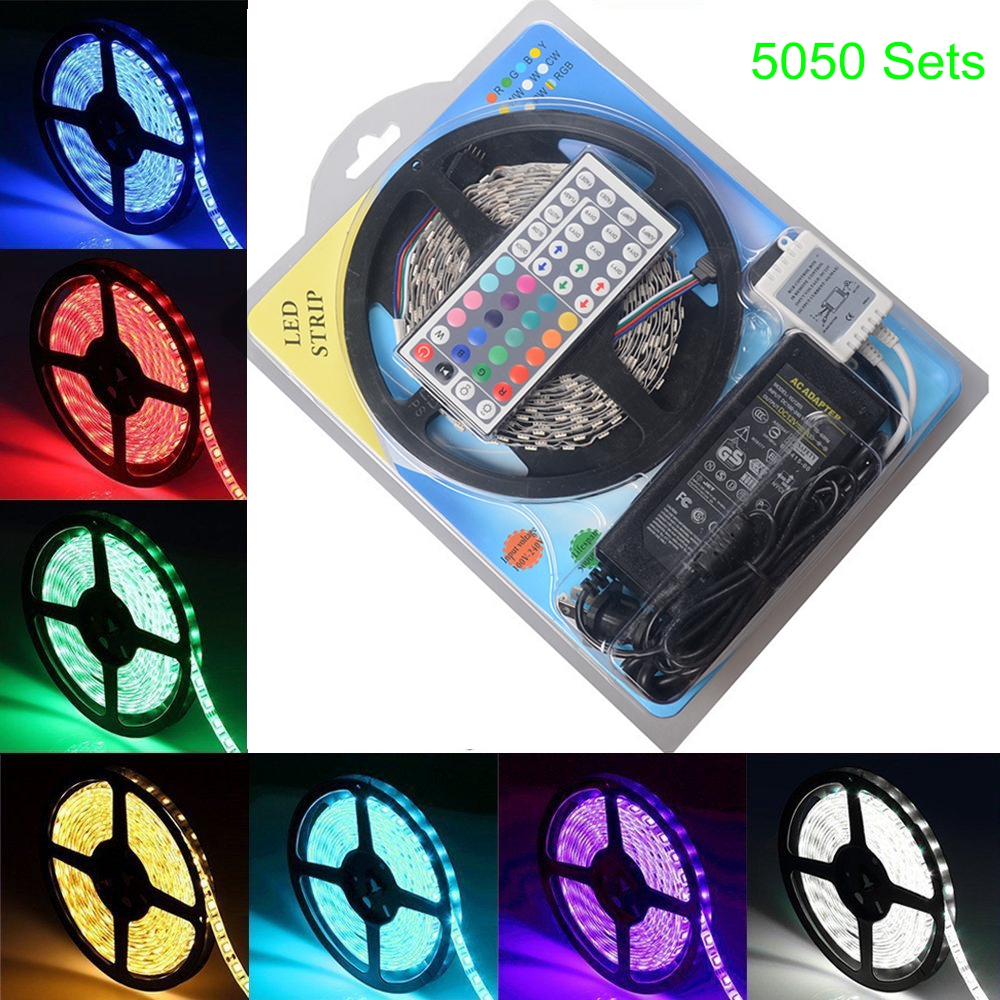 One Set 5M IP65 5050 <strong>RGB</strong> 60leds/m Led Strip with 44keys IR Remote controller and 12V 5A Adapter