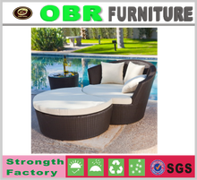 2017 hot selling multi-purpose holiday resort furniture metal frame all weather outdoor circular sofa bed