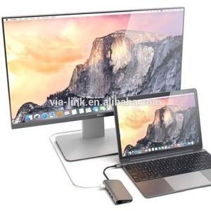 Via-link 8 in 1 Aluminum Multi Port Adapter Type C Combo Hub for MacBook Pro USB C Hub