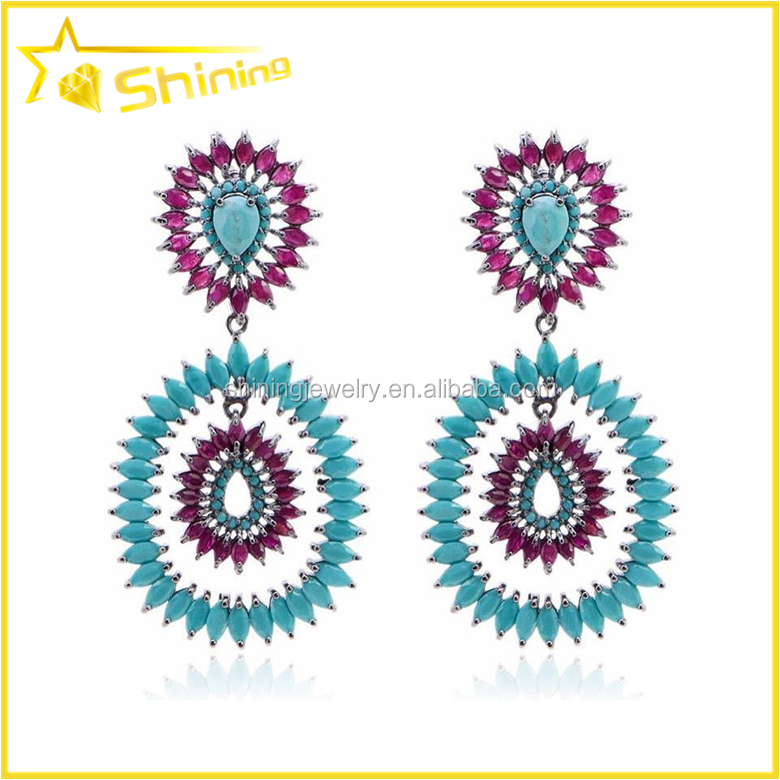 wholesale micro pave cubic zirconia semi joias drop earrings silver jewelry panyu jewelry factory