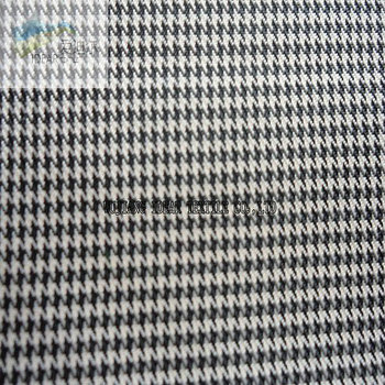 75D Polyester Yarn Dyed hound-tooth check fabric With Oil Cire