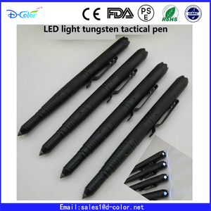 Newest LED flashlight tactical pen tungsten Aviation aluminum defense pen have stock OEM gift pen set