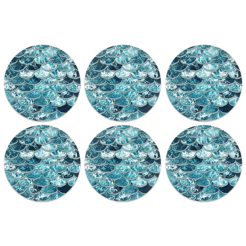 CARIBOU Coasters Mermaid Scales Blue Wave Design Absorbent Neoprene Coasters for Drinks, 6pcs Set