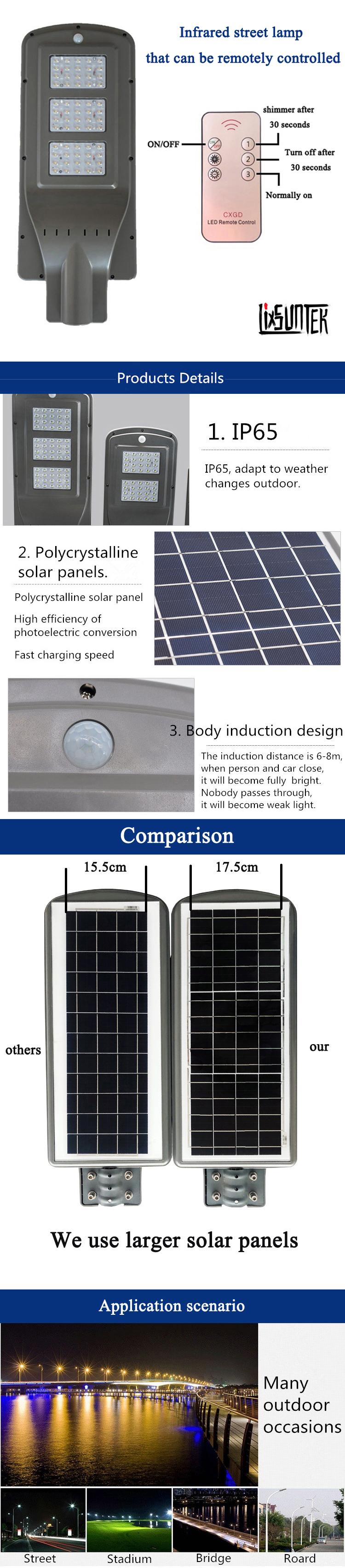 High lumen motion sensor led solar street light For 3 Years Warranty with 30 watt 40 W 50 W