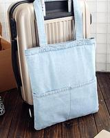 hot sale blank light blue jean tote bag with custom logo for women and girl