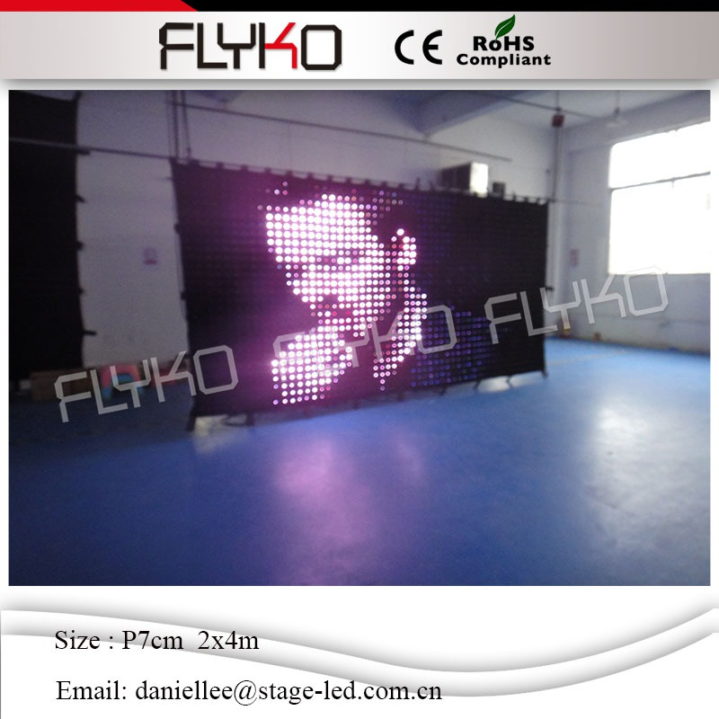 Alibaba <strong>express</strong> LED indoor flexible led curtain screen led video cloth p7cm 2x4m