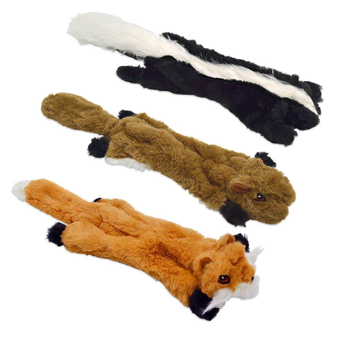 UOLIWO No Stuffing Dog Toys with Squeakers, Durable Stuffingless Dog Chew Toy Set with Squirrel Skunk Fox Skinny Squeaky Plush Dog Toys for Small Medium and Large Dogs 3 Packs