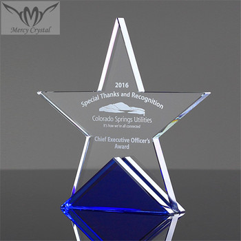 Cheap Crystal Glass Star Award Trophy for Business Promotional Gifts