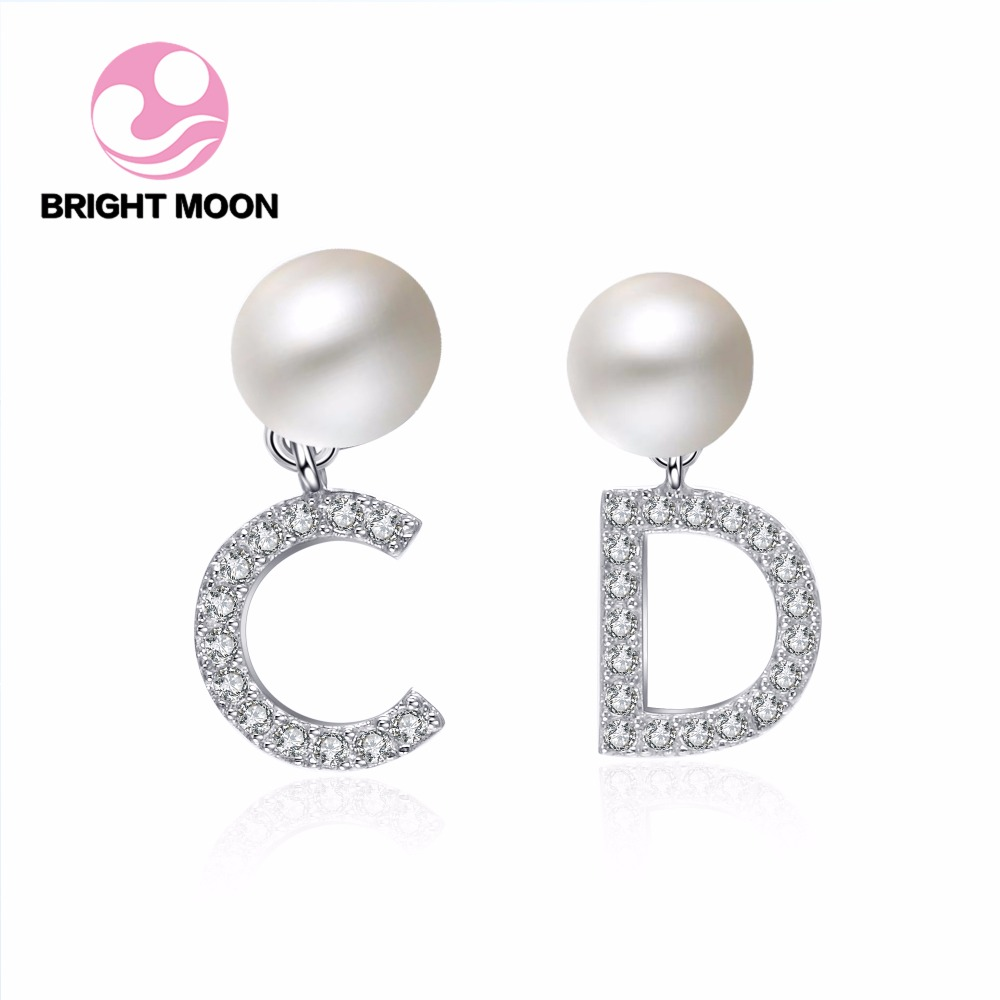 High quality pearl earrings High Luster Pearl jewelry Brand CD 925 silver earrings for women Party wedding earrings