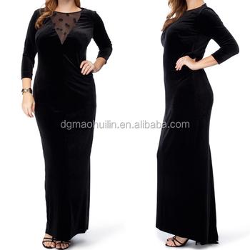 Fat Women Plus Size Clothing Long Sleeve Black Velvet Evening ...