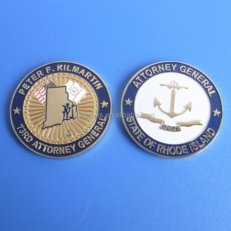 State Of Rhode Island Two Sided Color Imprint Coin