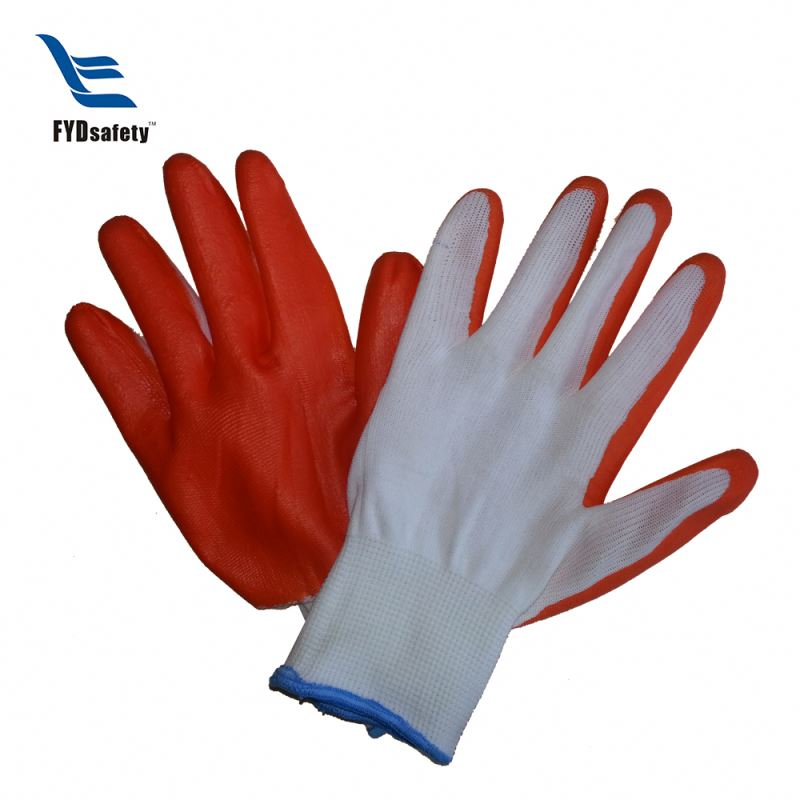 Black cotton knitted nylon working nitrile gloves