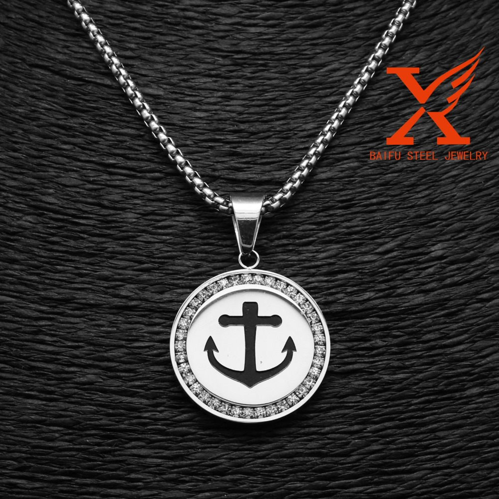 Stainless Steel Jewelry Factory Wholesale Engraved Personalized Anchor Pendant Charm for Men