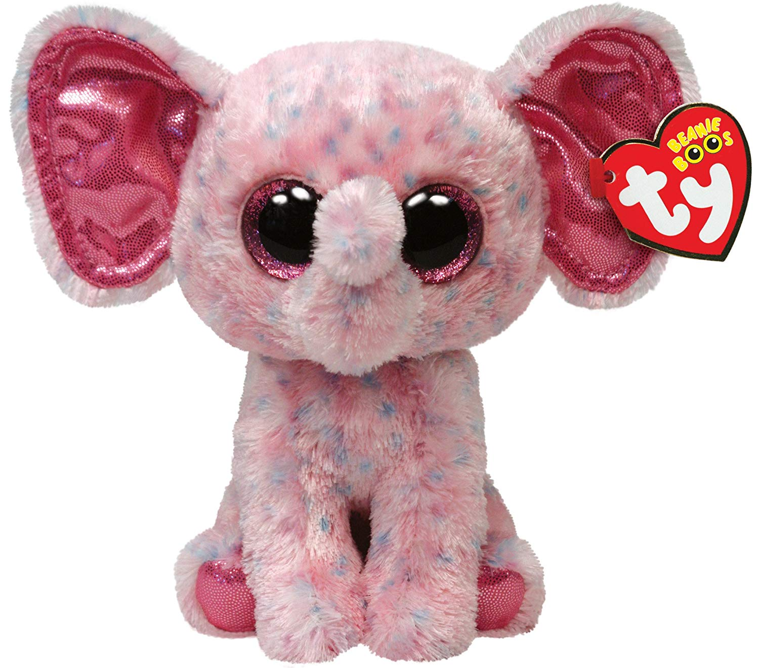 Get Quotations · Ty Beanie Boos Ellie Pink Speckled Elephant Regular Plush 8455f2dae7f6