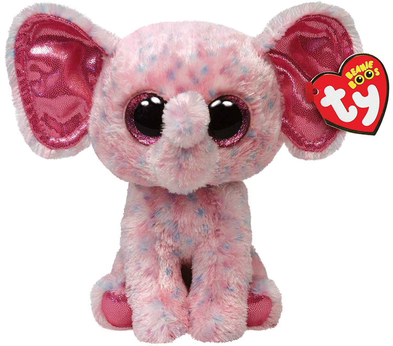 d23e25b2179 Get Quotations · Ty Beanie Boos Ellie Pink Speckled Elephant Regular Plush
