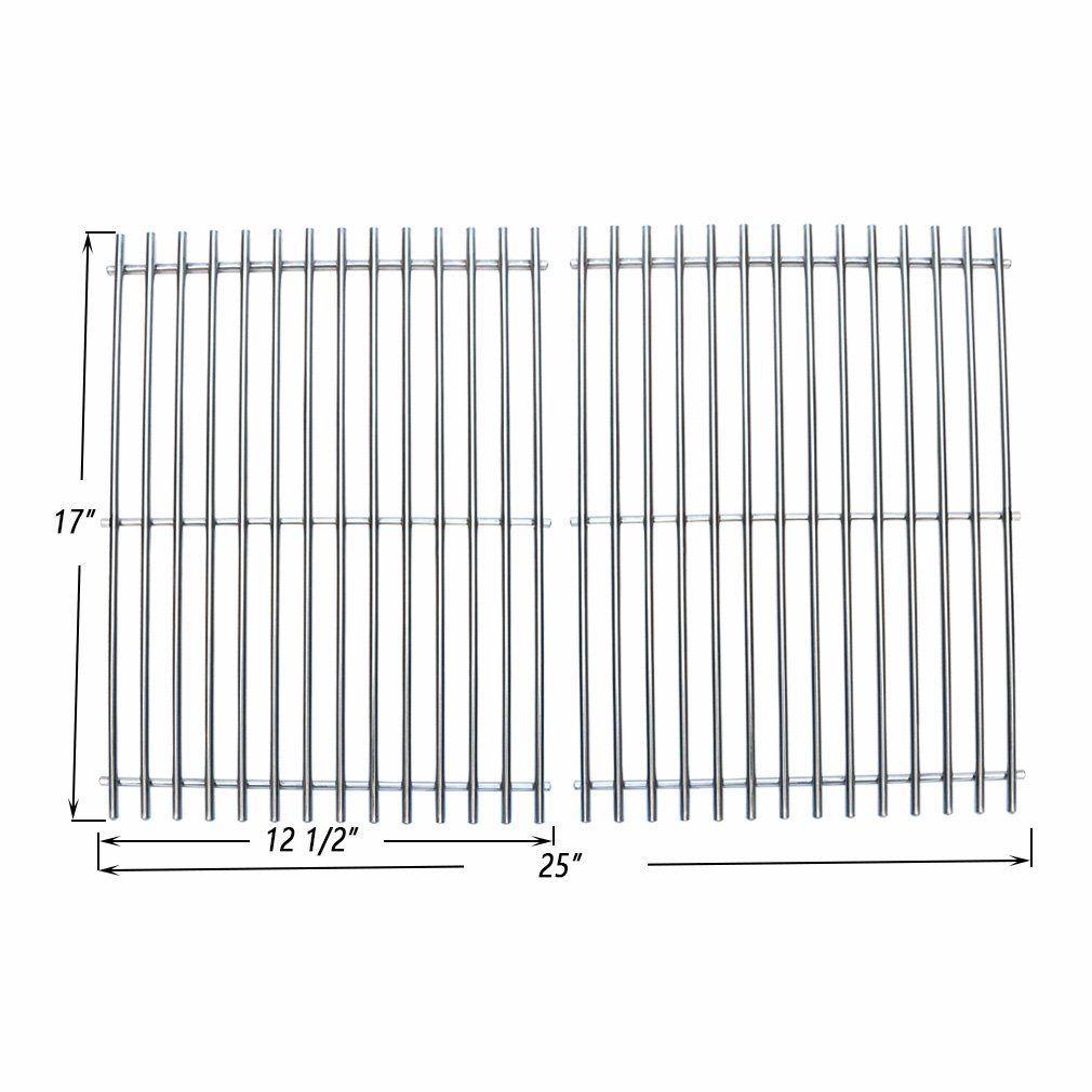 Onlyfire BBQ Stainless Steel Cladding Rod Cooking Grates / Cooking Grid Replacement Fit for Charbroil Great Outdoors and Vermont Castings Grills and Others, Set of 2
