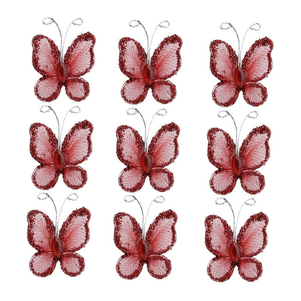 LEORX Sheer Mesh Wire Glitter Butterfly with Gem (Red) - 50pcs