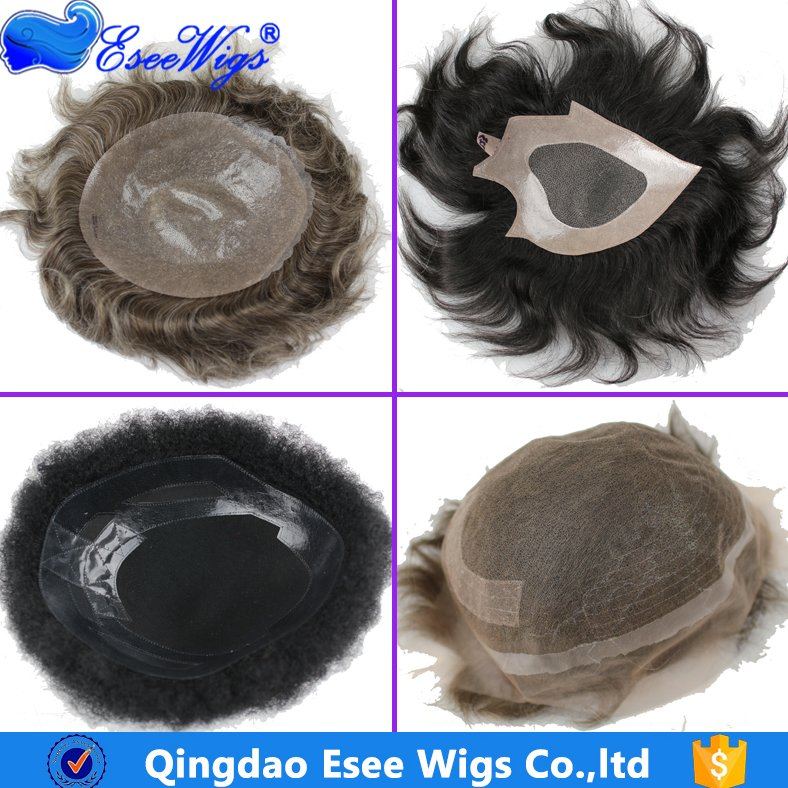 Eseewigs Indian Remy Real Human Hair Cheap Monofilament Lace PU Hair Piece Toupee Wig for Men and Women