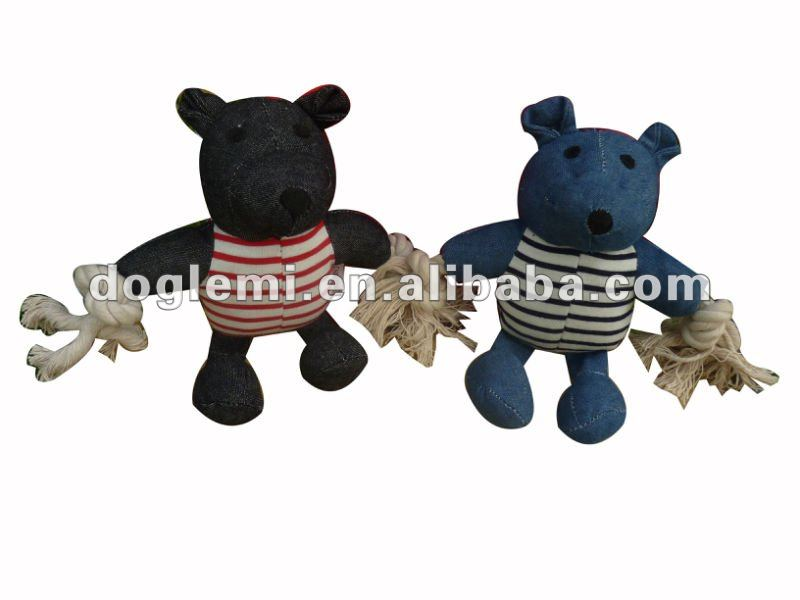 "Squeeker dog toy ""Sailing Bear"", with jeans flower design and cotton ropes"