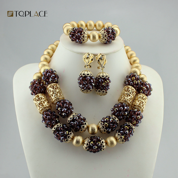 African Bridal Coral Beads Necklace Set Dubai Gold Jewelry Wedding