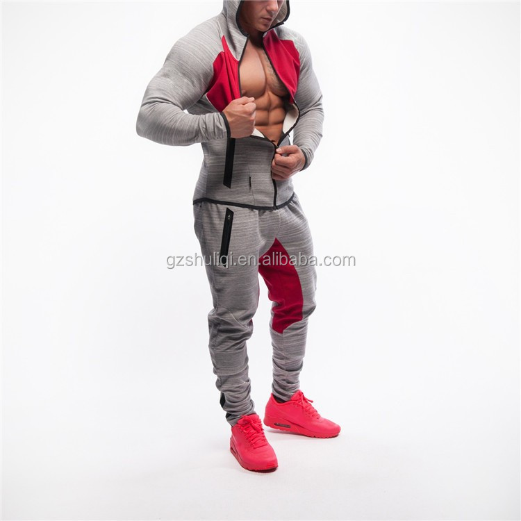 bc87a8df3844 muscle fit top design plain tracksuit custom gym sport tracksuits with  contrast crotch design for men