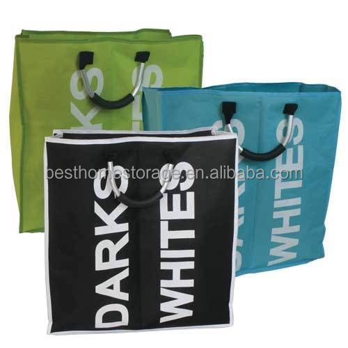 Large 3 Colours Double Foldable Laundry Washing Bag Bin Basket wholesale