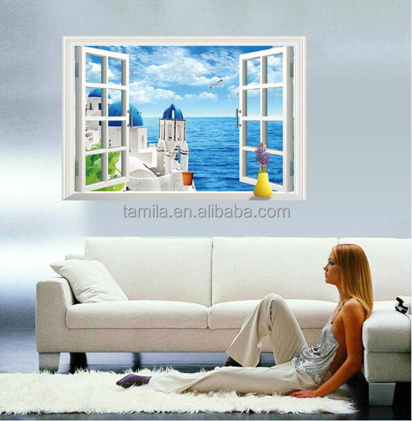 Mediterranean Sea Style Sticker/Greece Santorini Scenery Window Sticker