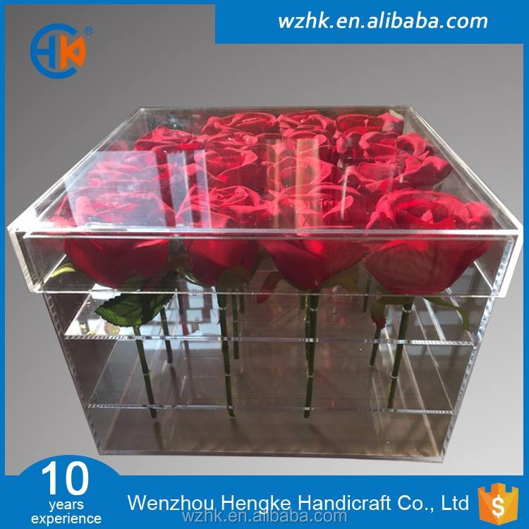 New arrival clear acrylic flower packaging box with lids