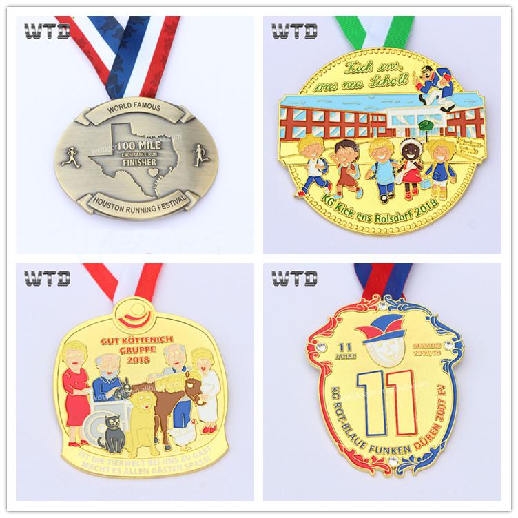 Wotid 8 Anni di Fabbricazione Nuovi Disegni Personalizzati Sport In Esecuzione di beneficenza Maratona Nastro Medaglia Medaglia D'onore