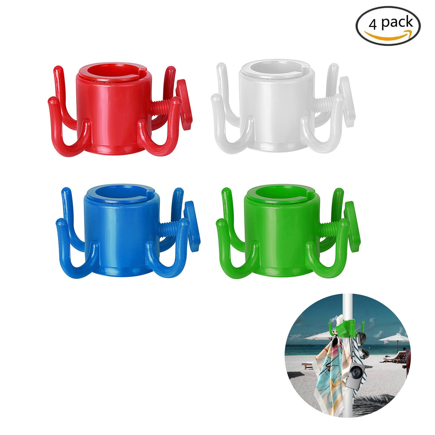 Tagvo Beach Umbrella Hanging Hook, 4-prongs Plastic Umbrella Hook Hanging for Towels /Hats /Clothes /Camera /Sunglasses /Bags--Durable, Fit for Beach,Camping Trips(4 pcs set)