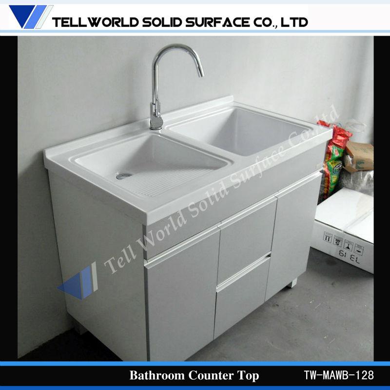 Artificial Marble Banjo Commercial Bathroom Vanity Tops