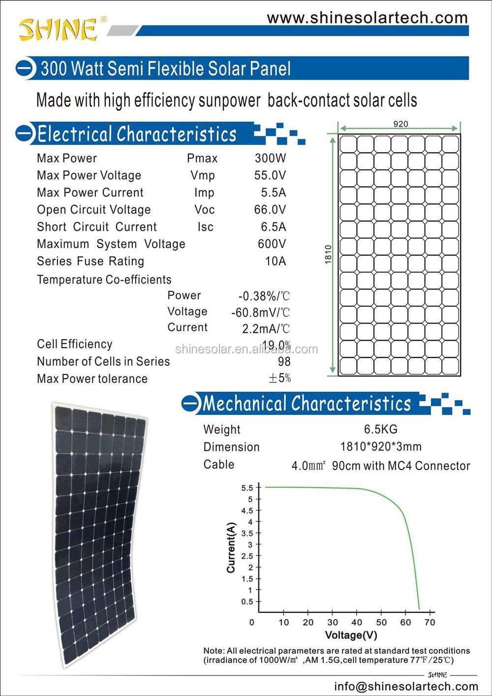 Mini Flexible Solar Panel 300w Flexible Sunpower Solar