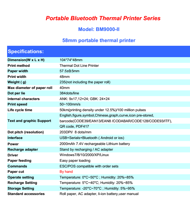 58mm Portable bluetooth thermal printer support serial