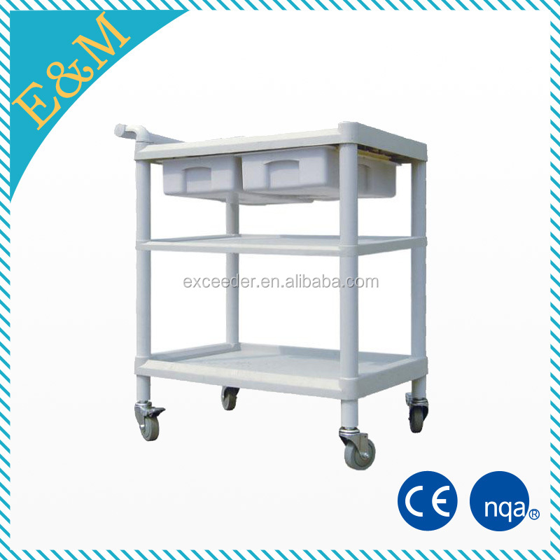 CE ISO approved cheap three layers mobile hospital plastic utility cart