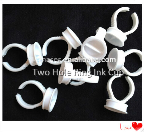Both Sides Permanent Makeup Disposable Finger Easy Ring Ink Holders/Cups,Tattoo Ink Ring Pigment Cup