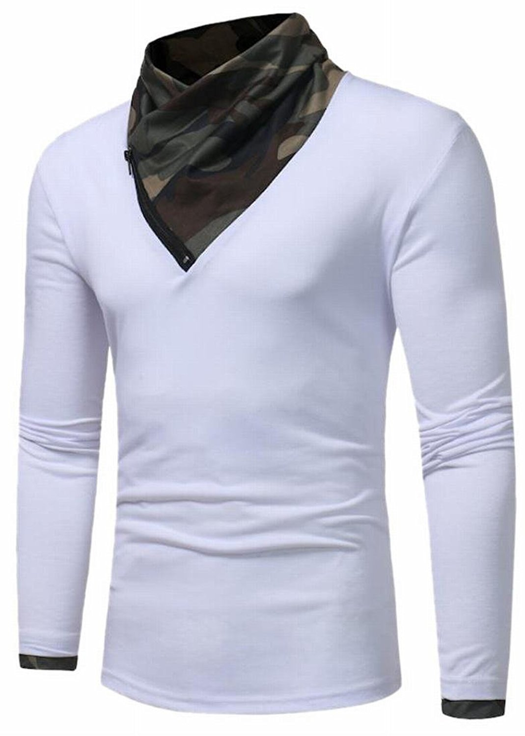 BU2H Men Plus Size Long Sleeve Round Neck Button Solid T-Shirts Top