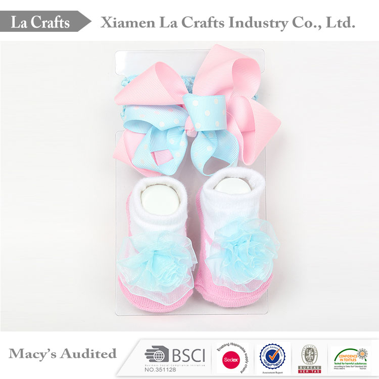 Newborn baby gift set have baby headband and baby socks