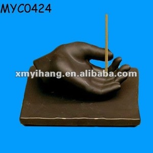 Hand shaped votive incense stick holder