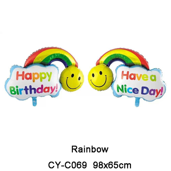 Inflatable Rainbow Foil Balloon Happy Birthday Supply Toys Helium Emoji Star Balloons