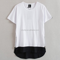 Newly Launched high quality cotton zipper bottom casual longline t shirt cool hippie clothing for men SLQ-V-0666