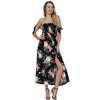Fashion Off Shoulder Asymmetric Split Long Custom Print Flora Women Latest Dresses