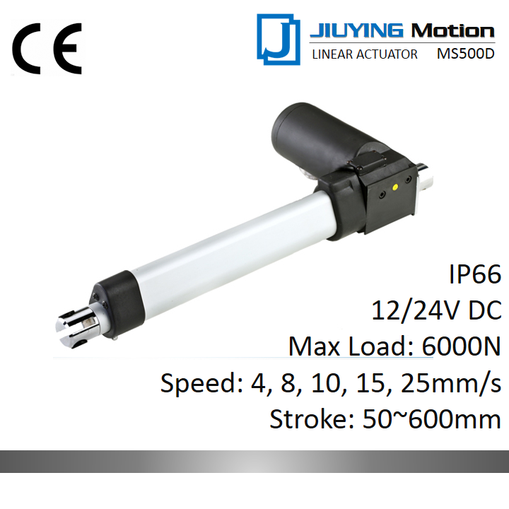 12/24V DC brush motor Max 6000N economic IP66 waterproof 600mm linear actuator option with Hall sensor for Nursing bed